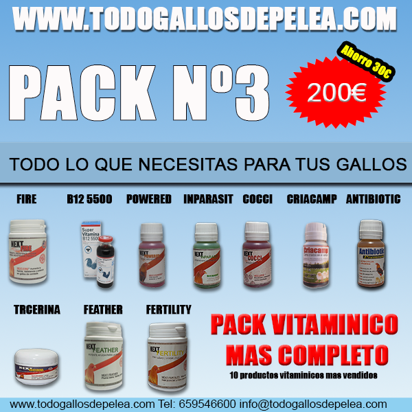 pack 3 gallos de pelea